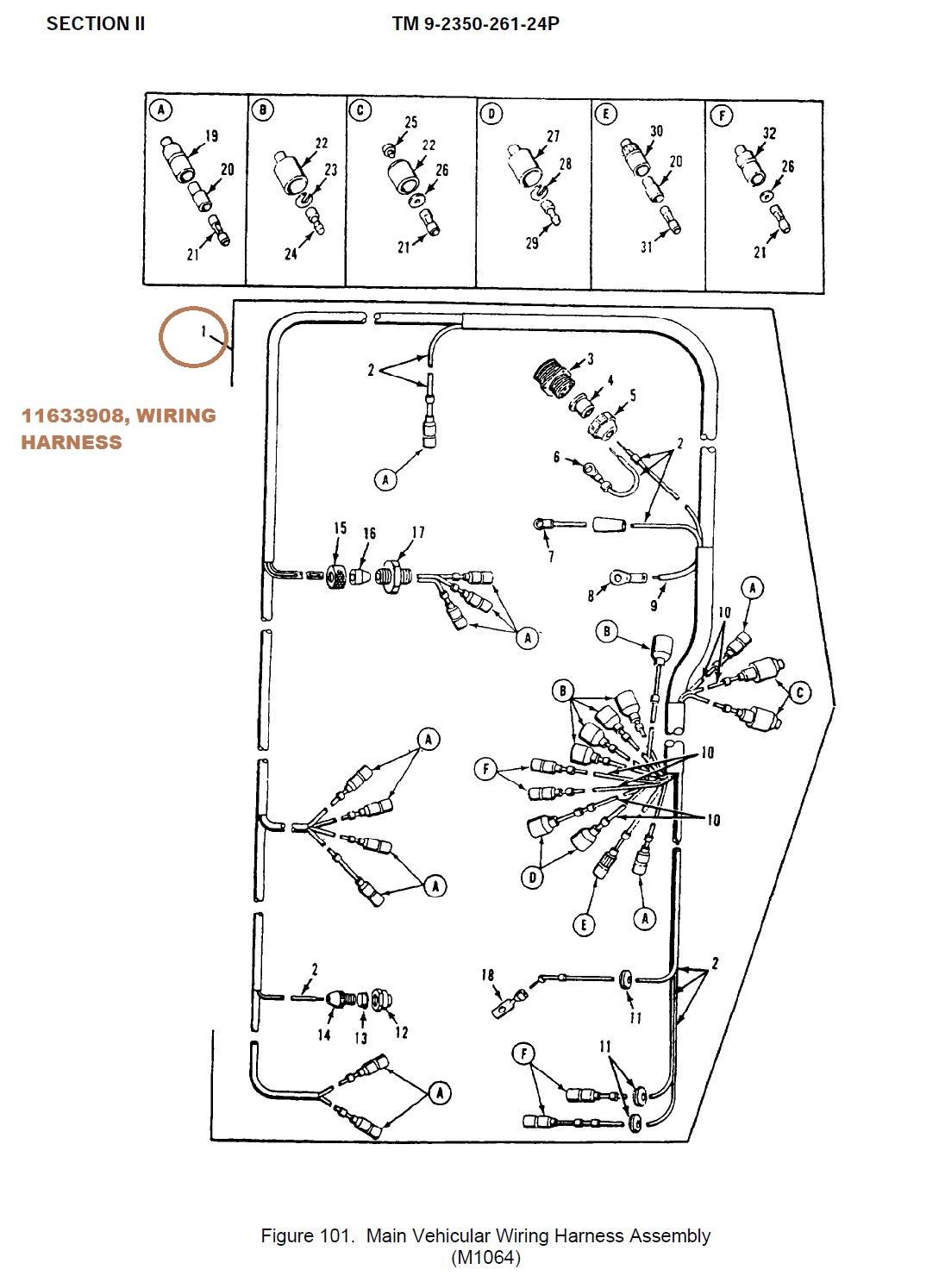 wiring harness bran - nsn 2590-00-409-4001